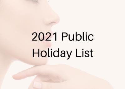 2021 Public Holiday List